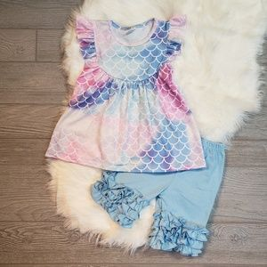 Other - Girls Mermaid Scales Pastel Ruffle Boutique Outfit